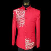 Wholesale Jackets Pants new men s dress suit Zhongshan Fu suit embroidered collar Chinese style costumes Wedding