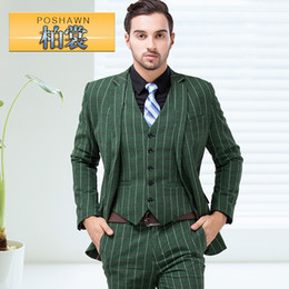 Wholesale-(Jacket + pants + vest) men SuitS NEWfashion plaid suit piece set classic formal dress men's clothes