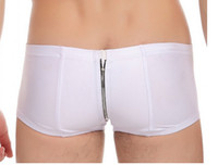 sexy pants for men - JQK Imitation leather Sexy pants are Zipper open backed pants for men Underwear men Boxer Shorts