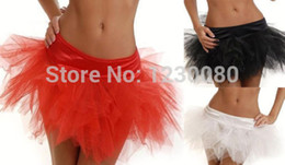 Wholesale-New Sexy Lace Tutu Skirt Women's Girl's Mini Dress Fits Corset White Black Red