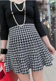 Discount Black White Plaid Pleated Skirt | 2017 Black White Plaid ...