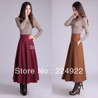Wholesale Fashion Autumn High Waist Wool Maxi Vintage Skirt Winter Plaid Women Plus Size Long Warm Skirts Saia Femininas Longa S XL