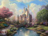 Wholesale Thomas Kinkade oil painting repro on canvas A New Day at Cinderella s Castle x36 inches