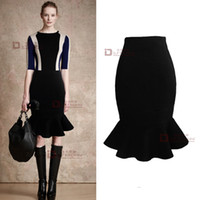 Wholesale Brand Celebration High Street Run Way Fishtail Peplum Hem Mermaid High waist Plus size Women Pencil Midi Skirt
