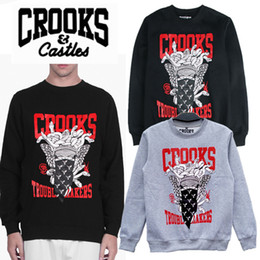 Wholesale Crooks Masked Snake Sweatshirts Man Hip Hop Skateboard Baseball Sports Sweatshirts Cotton O Neck Thick Gun Printing Sweatshirts