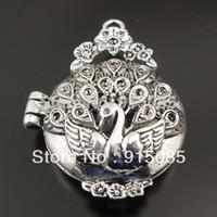 prayer box charm - Antique Style Silver Tone Locket Prayer Box Pendants Charms Findings mm