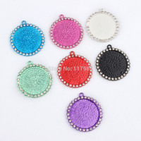 colored glass bottles - pc mm quot inner Colored Round Rhinestone Bezel Pendant Tray Glass Cabochon Setting Blank Clear Rhinestone Bottle Cap