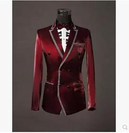Wholesale Al por mayor chaqueta pantalones pajarita juegos de los hombres buenos de calidad lentejuelas rojas del juego de vestido de boda del novio de los hombres delgados del vino