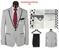 Cheap Wholesale-2015 spring high-end men's white black polka dot suits 2 pieces coat+pant blazers formal business suits S-4XL