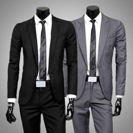 El envío de Invierno 2015 Moda para hombre juegos formales mayor-libre Los sistemas Negro hombres adelgazan las chaquetas comerciales sola capa botón + Pantalón gris claro / desde traje formal de un solo botón delgado proveedores