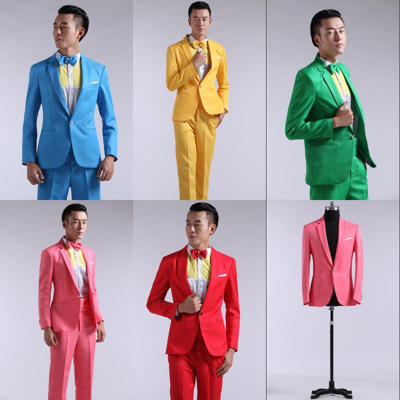 Online Cheap Wholesale Suit Men 2015 Red, Yellow, Blue And Green ...