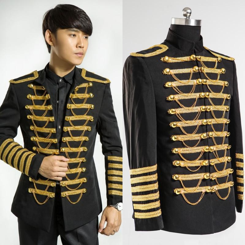 Wholesale-Men Dress in Black Suits And Gold Embroidery Wedding ...