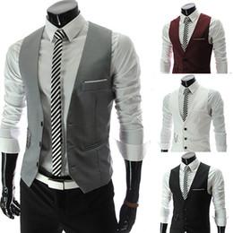 Wholesale-Men Suit Vest Slim Dress Vest For Men Cotton Formal Business Vest Men Tops Three Buttons Suits & Blazer