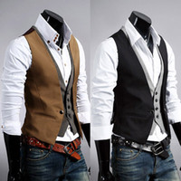 Wholesale Hot Sale Men s Slim Vest Suit Style Double Layered Single Row Button Vest Waistcoats