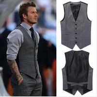 Wholesale Brand Fashion Men Slim Grey Vest Jacket Beckham vest men s casual suit vest tank tops High Quality Hot Cotton waistcoat For