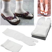 geta - V115 Pair Unisex Split Toe Japanese Kimono Geta Socks Clog Flip Flop Cotton Tabi