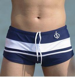 Wholesale-New Men Swimwear Sexy swim trunks Low waist Stripe Pocket Shorts Boxers Sports suit Man soft comfortable Swimsuit briefs