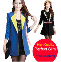 Cheap Wholesale-New Arrival Women Blazers And Jackets Black 4XL 2015 One Button Slim Business Suits Work Wear Blaser Femininos Paty Suits