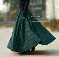 Wholesale Autumn new fashion long plaid skirt vintage maxi wool skirt plus size women s casual ankle length skirt with pockets
