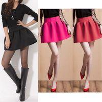 Wholesale Autumn and Winter New Korean Women Girl Mini Skirt Ball Gown High Waist Pleated Skirt Burgundy Rose Black short saia