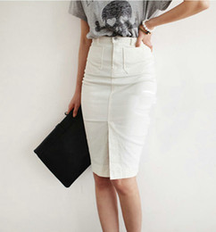White Denim Skirt Knee Length