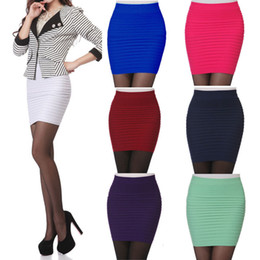 Wholesale- Women Skirts Summer High Waist Pencil Skirt Candy Color Plus Size Elastic Pleated Short A-Line Mini Bodycon Skirt Saia