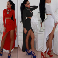 american apparel tshirt - women lady red black white t shirt tshirt crop top and pencil long maxi asymmetrical skirt woman clothing set american apparel