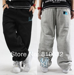 Wholesale Tide Men s Thick Loose HIPHOP Street Dance Apparel Velvet Long Trousers Leisure Straight Sports Big Letters NY Pants