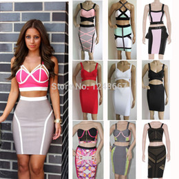 Wholesale-2 piece bandage dress celebrity dress 2015 new white red black yellow blue