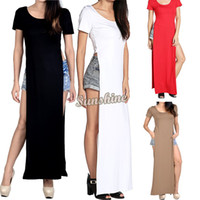 gypsy dresses - Women dresses Summer long dress side split tee shirt bodycon maxi shirt dress Party Gypsy Dress B2