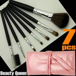 Wholesale 5 Sets PRO MAKEUP COSMETIC BRUSHES SET GOAT HAIR Pink Black Bag Leather Pouch FREE SHIP