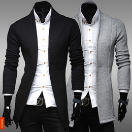 Wholesale-New Autumn Casual Cardigans Sweaters Mens Men's Vintage Slim Knitwear Long Sleeve Wool Sweaters Man Jacket Suit Plus Size