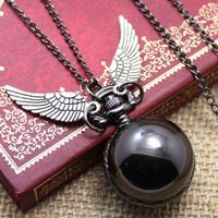 antique ladies pocket watches - Fashion Woman Lady Black Ball Snitch Quidditch Harry Potter Antique Steampunk Pocket Watch P607
