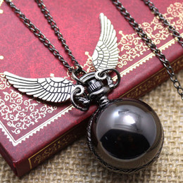 Wholesale Fashion Woman Lady Black Ball Snitch Quidditch Harry Potter Antique Steampunk Pocket Watch P607