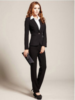 Cheap Wholesale-New 2015 classical high quality women black and blue pants business suits formal office suits from XXS to XXXL plus size wear