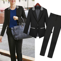 Cheap Wholesale-2015 Fall fashion Black elegant pant suits jacket women business suits formal office suits work wear plaid blazer clothing