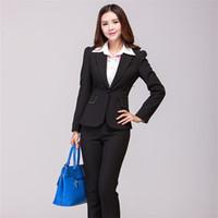 Cheap Wholesale-2015 Women Pantsuits Set Autumn Winter Office Ladies Suit Plus Size V Neck Business Women Pants Suit Black 6 Sizes XXXL Maxi