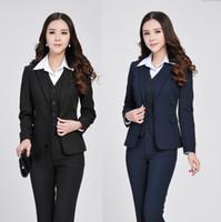 Wholesale New Fashion Womens Business Suit Set Pieces Women s Blazer Pants Vest Formal Office Suits Office Uniform Style S XXXL