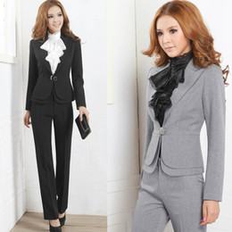 Discount Office Ladies Suits Grey Black | 2017 Office Ladies Suits ...