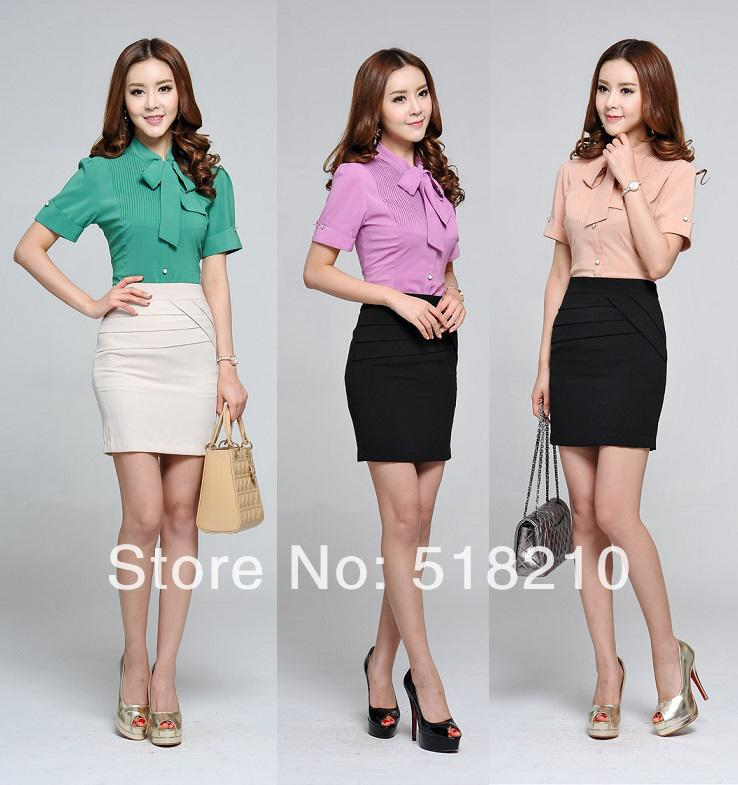 Wholesale-New Candy Color Short Sleeve Summer Formal Women Blouse ...