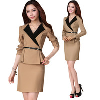 Cheap Wholesale-High Quality women's Mini skit and tops long Sleeve formal business Khaki Black Skirt Suit uniform J1170