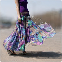 best expansion - New spring and summer hot sale Chiffon expansion bottom patchwork bust skirt best quality purple flower