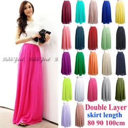 Wholesale hot sell summer Women Chiffon Double Layer Elastic Band Full Long Maxi Circle Hem Skirt