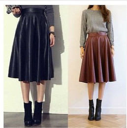 Discount Long Faux Leather Pleated Skirt | 2017 Long Faux Leather ...