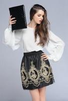 balloon skirt - Vintage Embroidery Black Tulle Skirts high waist Woman pettiskirt office miniskirt kilt balloon faldas mujer ladies skrit
