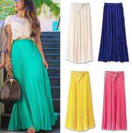Gros-2015 Spring Summer nouvelle mousseline de soie taille haute femmes longue jupe boheme sexy casual jupe plissée femmes jupes maxi élégant à partir de bohême plissé jupe longue fabricateur