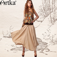 artka fashion - Artka Women S Fashion Style Bulkness Expansion Bottom Summer Ningjing Linen Solid Cotton Ankle Length Full Skirt QA10745X