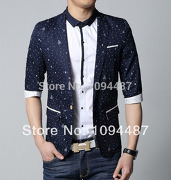 Wholesale-Spring 2016 knitted fashion jackets for men blue&white cotton short sleeve m-3xl men suit blazers ZA171