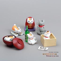 Wholesale-Free Shipping Cute Natsume Yuujinchou Nyanko Sensei White Cat PVC Figure Toys Girls Toys Christmas Gifts 6pcs set NYFG007