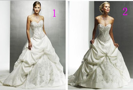 Wholesale 2011 sexy Satin Embroidery chapel Informal Color Accented Bridal Gowns Wedding Dresses